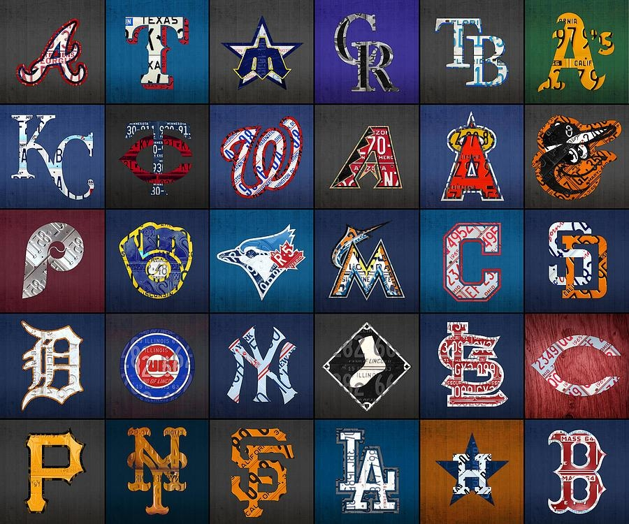 Play Ball Recycled Vintage Baseball Team Logo License Plate Art Intended For Vintage Baseball Wall Art (Image 15 of 20)