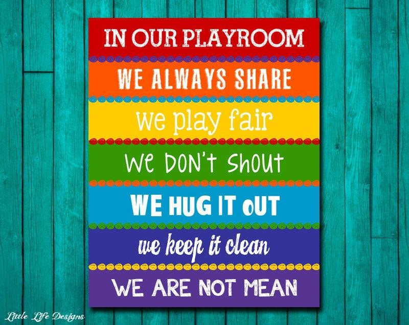 Playroom Rules Sign. Childrens Wall Art. Kids Room Decor (Image 15 of 20)