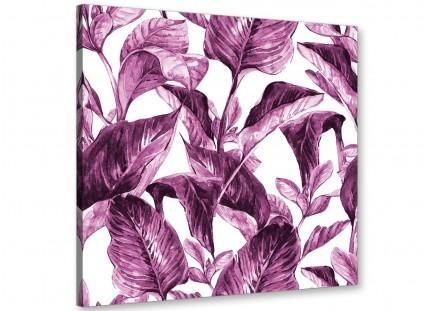 Plum Aubergine White Tropical Leaves Canvas Wall Art – Modern 79Cm Regarding Aubergine Wall Art (View 9 of 20)