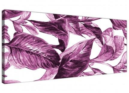 Plum Aubergine White Tropical Leaves Canvas Wall Art – Multi Set With Aubergine Wall Art (Image 15 of 20)