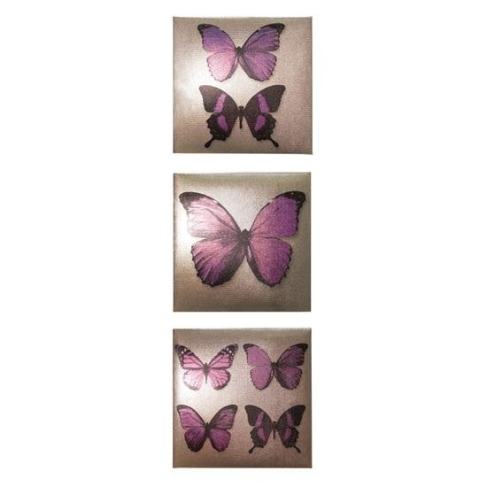 Plum Canvas Wall Art In Metallic Set Of 3 Butterflies 24025 With Plum Wall Art (Image 9 of 20)