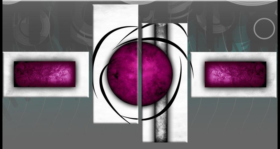 Plum Purple White Abstract Canvas Wall Art Pictures Split Multi 4 With Plum Wall Art (Image 10 of 20)
