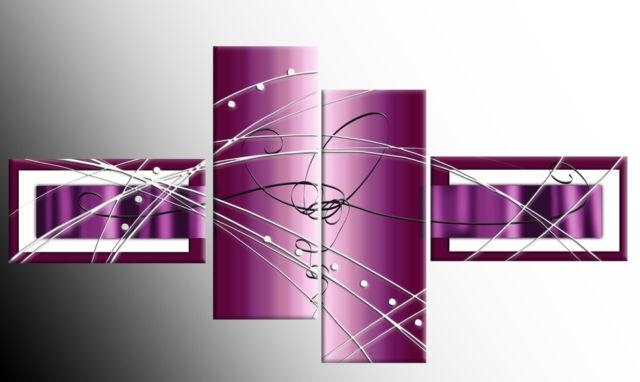 Plum Purple Wide Stretch 4 Panel Abstract 146Cm 57Inch Canvas Art Regarding Plum Wall Art (Image 11 of 20)