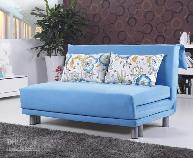 Polyester Cloth Fold Sofa Bed Modern Style Sky Blue Ds013C4 Free Within Sky Blue Sofas (View 7 of 20)