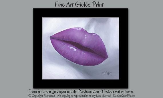 Pop Art Canvas Print Large Lip Art Contemporary Gray & Plum In Plum Wall Art (Image 13 of 20)