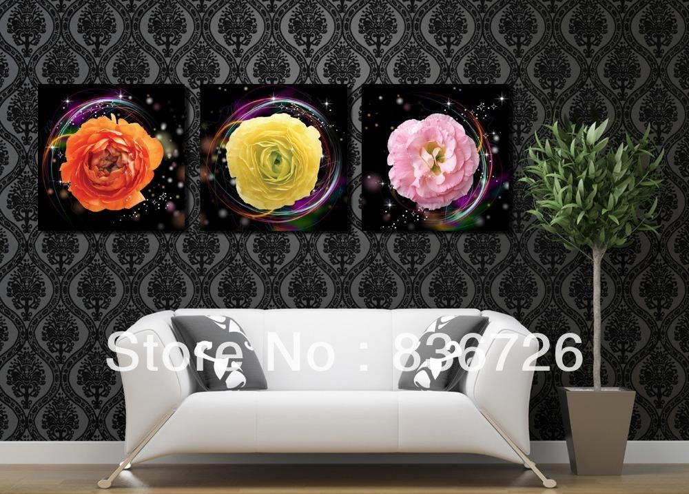 Popular 3 Piece Canvas Wall Art Floral Buy Cheap 3 Piece Canvas For 3 Piece Floral Canvas Wall Art (Image 15 of 20)