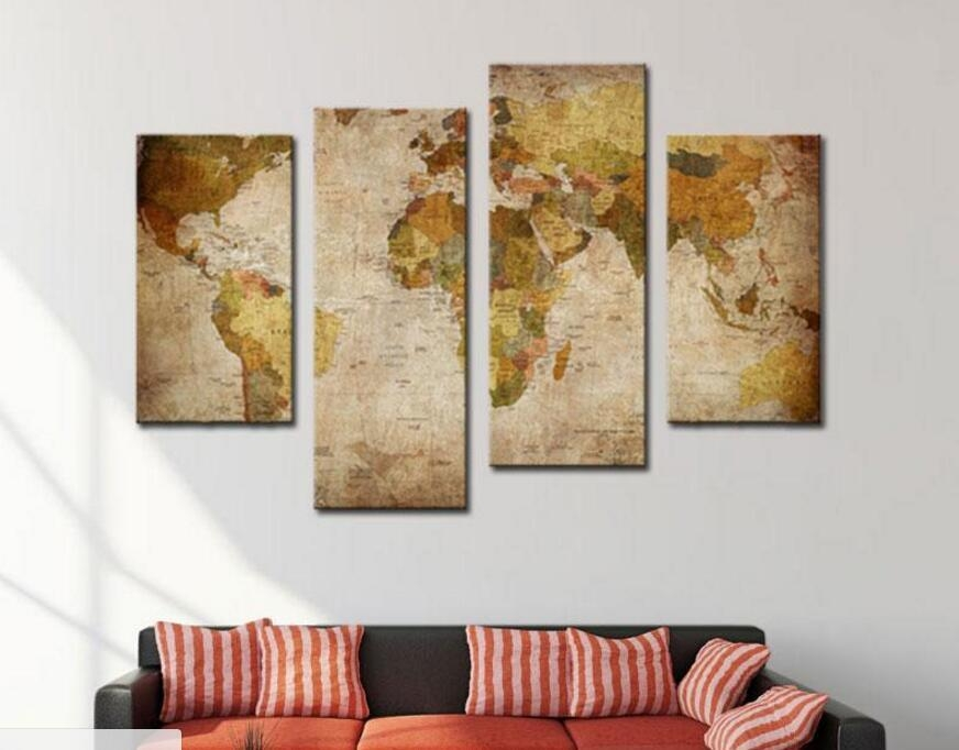 Popular Wall Art Canvas Map Buy Cheap Wall Art Canvas Map Lots Pertaining To Large Retro Wall Art (View 5 of 20)