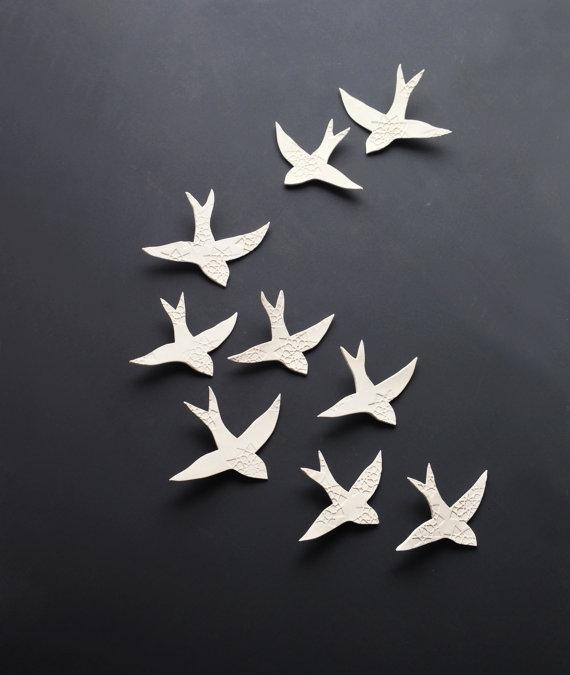 Porcelain 3D Large Wall Art Set Swallows Over Morocco 9 Birds Inside Ceramic Bird Wall Art (View 9 of 20)