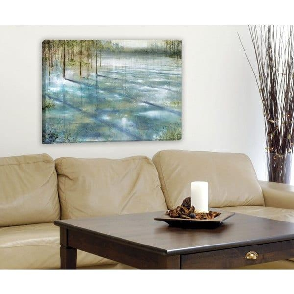 Portfolio Canvas Decor 'water Trees' Large Framed Printed Canvas Pertaining To Large Framed Wall Art (Image 9 of 20)