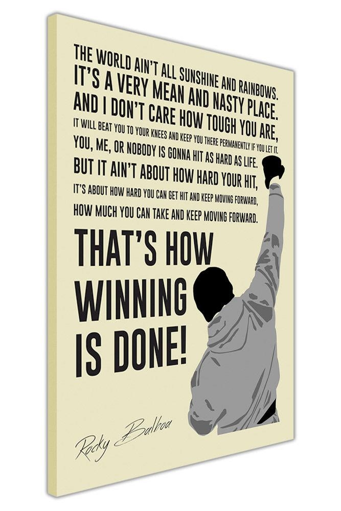 Portrait Rocky Balboa Movie Quote Canvas Wall Art Pictures Posters Pertaining To Rocky Balboa Wall Art (View 10 of 20)