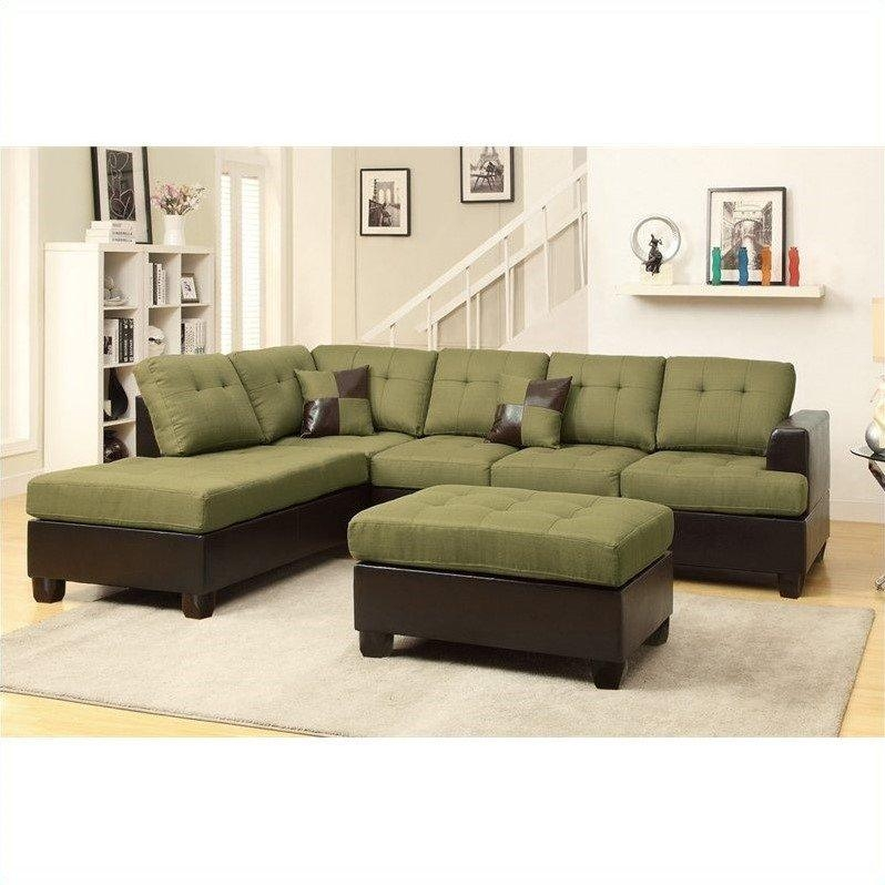 Poundex Bobkona Winden 3 Piece Reversible Sectional Sofa In With Poundex Sofas (Image 10 of 20)