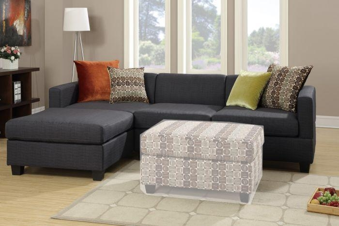 Poundex F7170 2 Pcs Slate Black Microfiber Sectional Sofa Pertaining To Poundex Sofas (View 17 of 20)