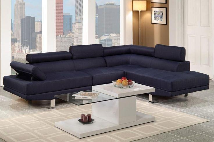 Poundex Furniture Dark Blue Blended Linen Upholstered 2 Pcs Full Regarding Poundex Sofas (View 3 of 20)