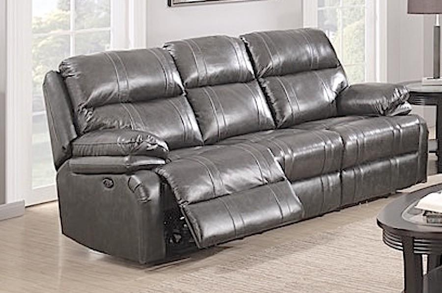 Power Reclining Sofa – Dark Grey Italian Leather – Sam Levitz Throughout Italian Recliner Sofas (View 14 of 20)