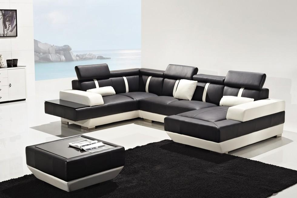 Prado Black And White Corner Leather Sofa Suite With Coffee Table Within Black And White Leather Sofas (Image 19 of 20)