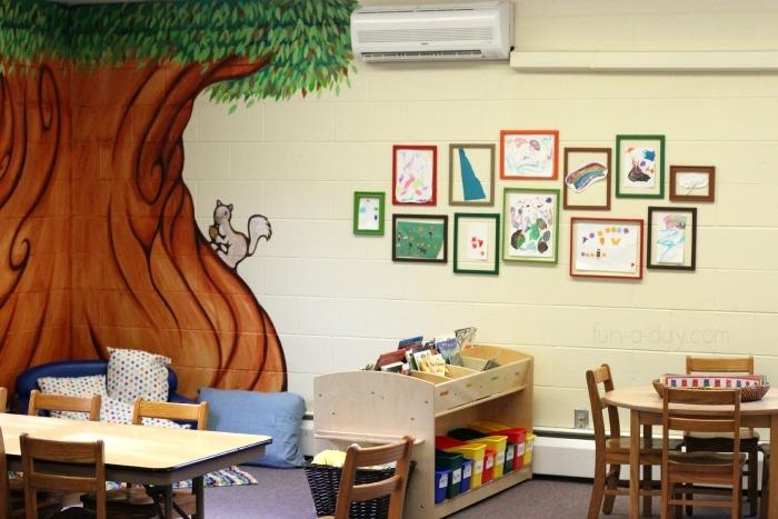 Preschool Art Display With Colorful Frames Regarding Preschool Wall Art (View 9 of 20)