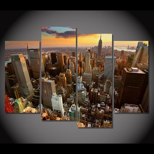 Print Canvas Painting New York Skyscrapers Rooftops Sunset Wall Throughout Wall Art For Bar Area (Image 18 of 20)