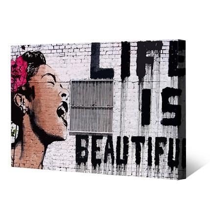 Print 'life Is Beautiful' Banksy Canvas Print Wall Art On Canvas In Banksy Canvas Wall Art (Image 17 of 20)