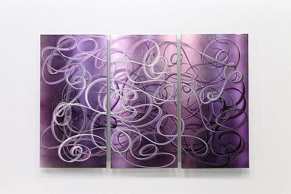 Purple Abstract Metal Wall Art Modern Metal Painting Home With Purple Wall Art (View 5 of 20)