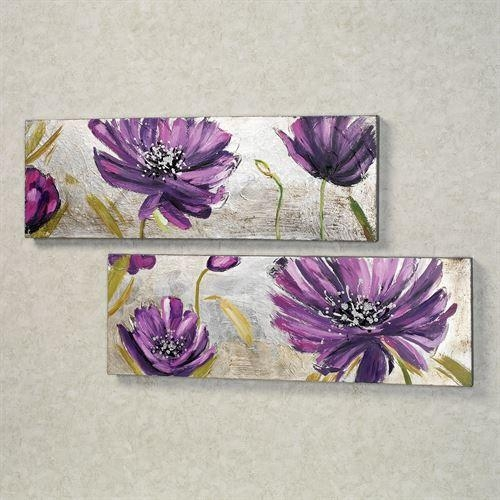 Purple Allure Floral Canvas Wall Art Set Pertaining To Purple Wall Art Canvas (Image 11 of 20)
