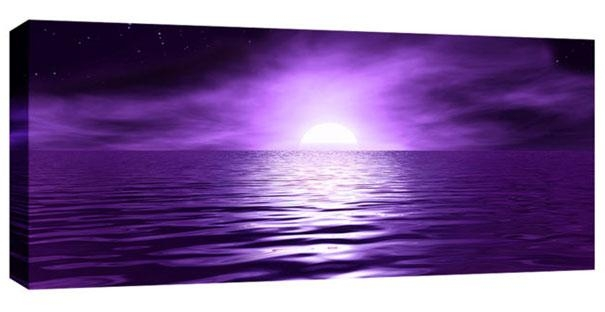 Purple Box Canvas Picture Sunset Sea Night Canvas Wall Art 44X20 Within Purple Canvas Wall Art (Image 15 of 20)