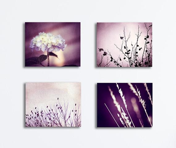 Purple Canvas Photography Nature Set Plum Wall Art Dark With Regard To Plum Wall Art (Image 15 of 20)