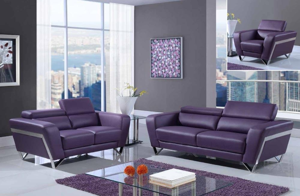 Purple Modern Bonded Leather Sofa Set With Chrome Legs [Gf7120 Within Sofas With Chrome Legs (Image 12 of 20)
