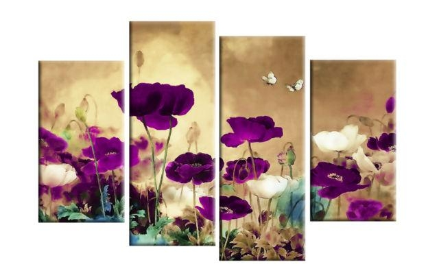 Purple, Plum & Beige Or Teal And Cream To Multi Field Poppies Intended For Plum Coloured Wall Art (Image 11 of 20)