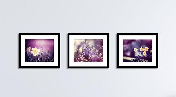 Purple Wall Art Set Dark Plum Yellow Nature Flower Regarding Purple Wall Art (View 10 of 20)