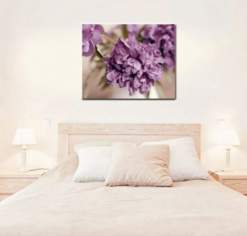 Purple Wall Canvas | Large Floral Canvas Print | Peony Bedroom Decor With Regard To Purple Wall Art Canvas (Image 16 of 20)