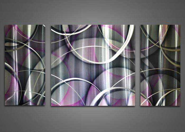 Purple, White & Black Abstract Metal Wall Art 48X24In | Fabu Art Throughout Purple Wall Art (View 8 of 20)