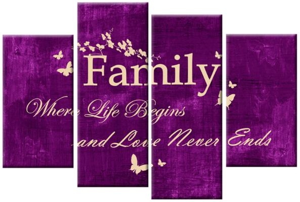Quote Cream On Purple 4 Panel Canvas Wall Art 40 Inch 101Cm Throughout Purple Canvas Wall Art (Photo 7 of 20)