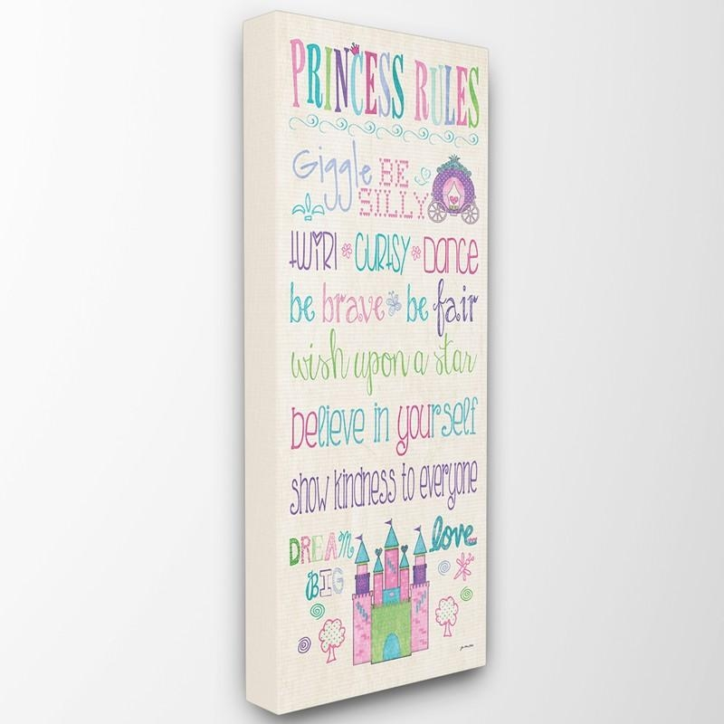 Rainbow Princess Rules Castle Canvas Wall Art – Rosenberryrooms For Princess Canvas Wall Art (Image 18 of 20)