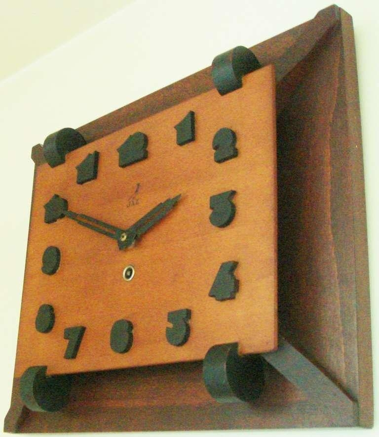 Rare French Art Deco Tri Colour Wood Mechanical Wall Clockjaz Within Art Deco Wall Clocks (Image 14 of 20)