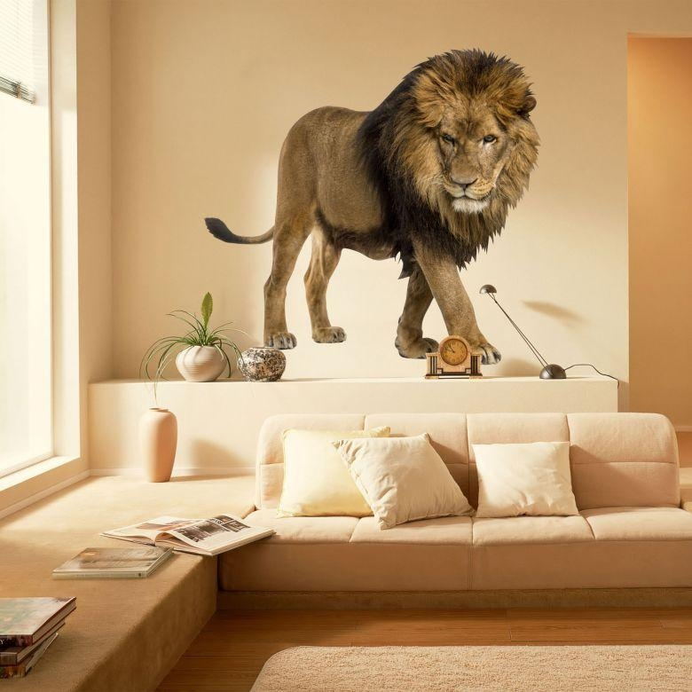 Real Lion Wall Sticker – Wall Art For Lion Wall Art (Image 19 of 20)