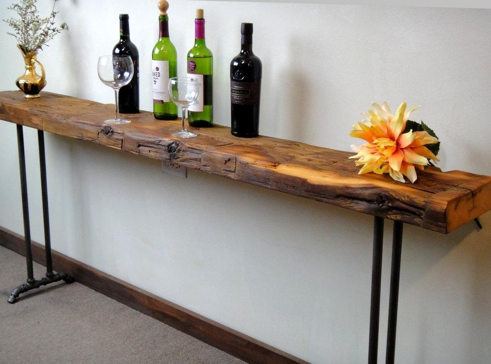 Reclaimed Wood Console Table Sofa Table New Hairpin Or Pipe Intended For Slim Sofa Tables (Image 14 of 20)