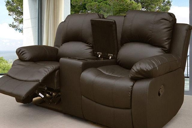Reclining Faux Leather Sofa With Cup Holders & Storage – 3 Colours! In Sofas With Cup Holders (Image 13 of 20)