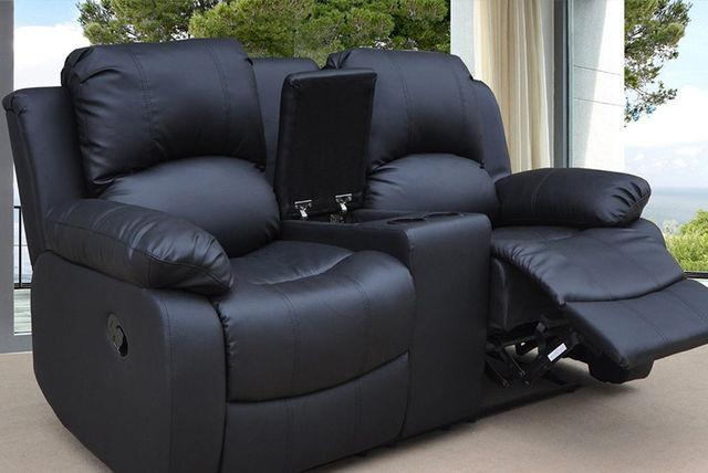 Reclining Faux Leather Sofa With Cup Holders & Storage – 3 Colours! In Sofas With Cup Holders (Image 12 of 20)
