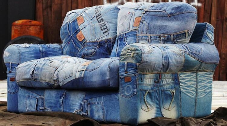 Recycled Denim Jeans Sofa Covers | Recycled Things With Denim Sofa Slipcovers (Image 13 of 20)