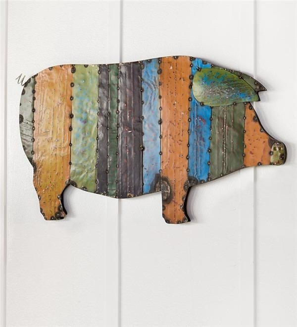 Recycled Metal Handmade Pig Wall Art | Deck & Patio Accents For Recycled Wall Art (View 20 of 20)