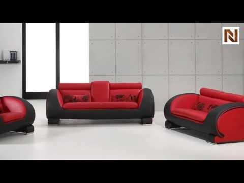 Red & Black Bonded Leather Sofa Set Vgdm2811Rb Bl – Youtube Inside Black And Red Sofas (Image 12 of 20)