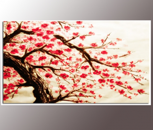 Red Cherry Blossom Painting 34X20 Inch Canvas Wall Art Print With Red Cherry Blossom Wall Art (Image 15 of 20)