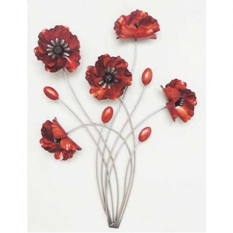 Red Poppies – Metal Wall Art – Furniture Point Nz Inside Metal Poppy Wall Art (View 13 of 20)