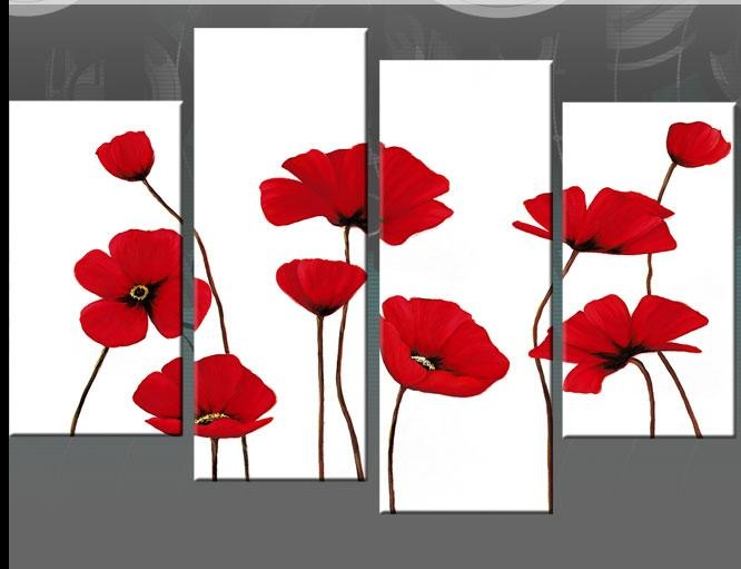 Red Poppies On Black 4 Panel Canvas Wall Art Picture 40 Inch 101Cm Regarding Red Poppy Canvas Wall Art (Image 10 of 20)