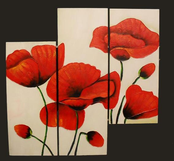 Red Poppy Set Of 3 Handpainted Canvas Wall Art [Redpoppy3 Regarding Red Poppy Canvas Wall Art (Image 11 of 20)