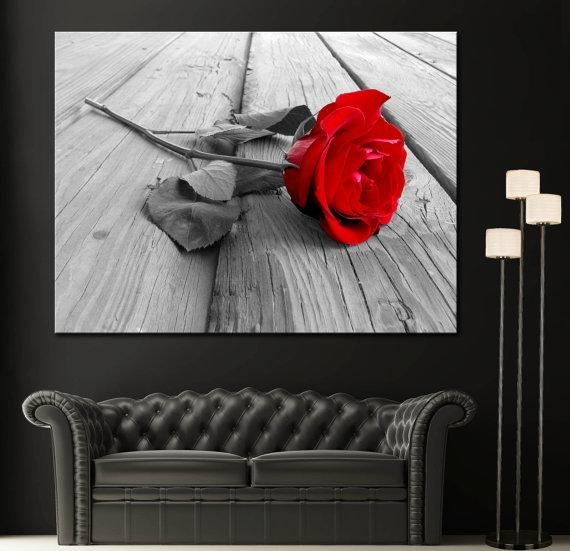 Red Rose Modern Home Fine Black White Wall Art Canvas Giclee Within Black And White Wall Art With Red (Image 19 of 20)