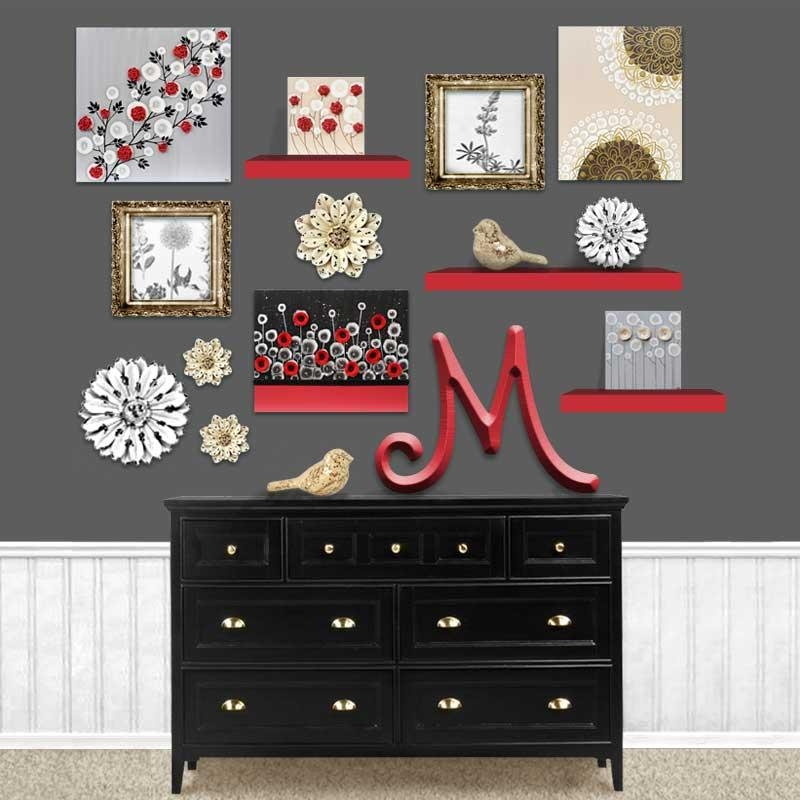 Red Rose Wall Art Painting On Gray And Black Canvas – Small | Amborela With Regard To Red Rose Wall Art (Image 14 of 20)