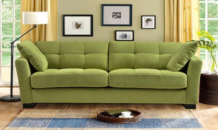"Regent 90"" Tufted Microfiber Sofa With 2 Throw Pillows | Groupon Regarding Green Microfiber Sofas (Image 18 of 20)"