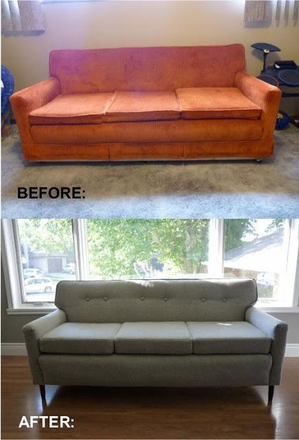 Remodelaholic | 28 Ways To Bring New Life To An Old Sofa Regarding Reupholster Sofas Cushions (Photo 10 of 20)