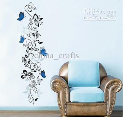 Removable Blue Butterflies And Vines Flower Wall Stickers Decals Inside Butterflies Wall Art Stickers (Image 18 of 20)